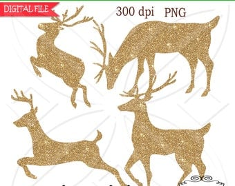 Reindeer Clipart Christmas, instant download, Personal and CU PNG-Set of 4  Reindeer clipart Silhouette