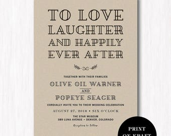 Happily Ever After Invitation Card - Kraft Paper Wedding Invitation - Modern Wedding Invitation - Wedding Invitation Printable