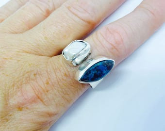 Pearl Ring Chrysocolla and Biwa Pearl Sterling Silver Adjustable Size Ring