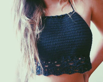 Gypsy Classic High Neck Halter Top. Hand Crocheted Boho Festival Backless Crop Top. Vegan Friendly Cotton. More Colors!