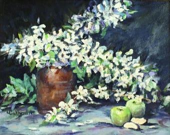 "Fine Art, Original Oil Painting, Floral Painting 8 X 10 ""Apples & Blossoms"""