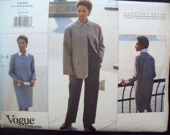 Vintage 1990s Vogue American Designer Pattern 1434 Geoffrey Beene Jacket, Dress, & Pants Uncut Sizes 12-14-16