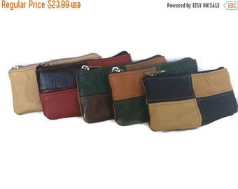 ON SALE Colorful Leather Coin Bag, Rustic Pouch Bags, Small Purse, Boho Chic Pouch, Maria