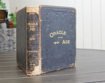 Antique Book, Oracle of the Age by WM. M. Thayer, 1895, Black Leather Book, Gilt Lettering, Vintage Book, Antique Leather Book, Black Gold