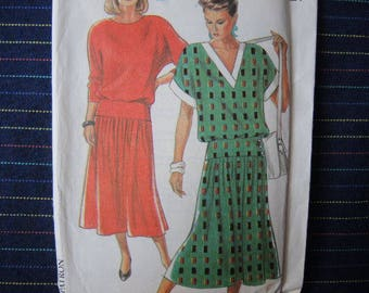 vintage 1980s New Look sewing pattern 6827 missesV neck dress size 8-14