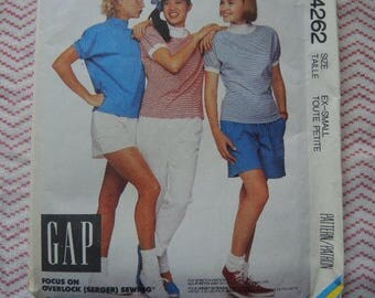 vintage 1980s McCalls sewing pattern 4262 GAP misses top pants shorts and culottes for stretch knits only size 6-8