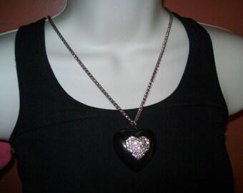 Black heart pendant with rhinestone design, TLC
