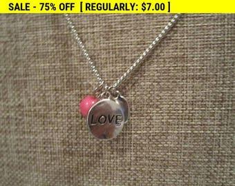 vintage pendant, love pendant, pendant necklace, love necklace