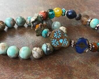 Sugar SKull Stretch Bracelet, bohemian bracelet,beachy jewelry, Luxe Jewelry, Neutral Jewels,skull beaded bracelets, Fall 2017