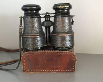 Antique Opera Glasses, Vintage Racing Binoculars, Vintage Leather Case