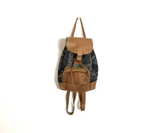 Small Vintage 90's Backback Southwest Bag Leather Hippie Backpack Ethnic Backpack Ethnic Tribal Hippie Purse Boho Backpack Leather Mini A1