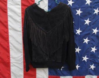 Black Suede Fringe Sweater