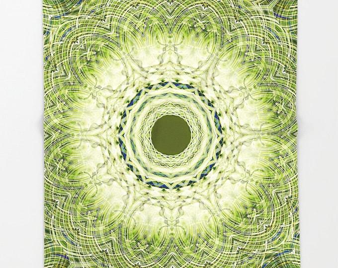 Fleece Throw Blanket, Throw Blanket, Green Sapphire Mandala, Green Blanket, Digital Photography, Mandala, Bedspread, Sherpa Blanket