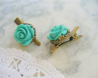 Green Rose Flower Hair Clips, Antique Brass Clips, Floral Jewelry, Hair Accessories, Crown Hair Clips, Hair Care, Weddings, Flower Girl