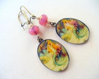Mermaid Earrings, Boho Beaded Antique Brass Earrings, Long Dangle Earrings, Womens Jewelry, Sea Shore Earrings, Beach, Summer Earrings