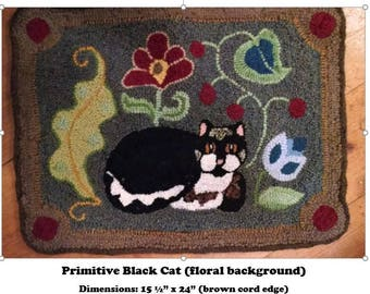 Primitive Black and White  Cat Hooked Rug