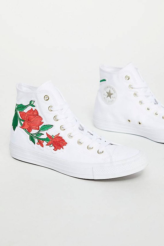 White Converse High Top Floral Red Rose Embroidery White Bling w/ Swarovski Crystal Rhinestone Jewel Chuck Taylor All Star Sneaker Shoes