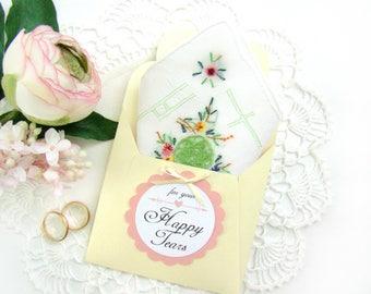 Happy Tears Wedding Hanky Vintage Handkerchief  Green Crochet Mother of Bride Mother of Groom Gift Something Old Maid of Honor Gift