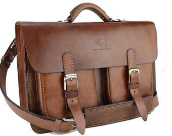 Leather Messenger Bag,  Leather Briefcase, Leather shoulder bag,fits Mac Book Pro 261