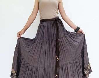 NO.25 Gray Lavender Cotton Gauze, Hippie Gypsy Boho Tiered Long Peasant Skirt, Maxi Skirt