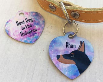 Pastel Universe Dog Collar Tag - Dog Name Tags - Dog ID Tags - Dog Breed tags