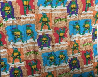 Complete 1988 Ninja Turtles twin size bedding set and curtains. Comforter, sheets, flannel sheets and curtains