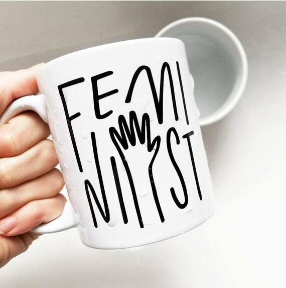"Handmade Olivia Herrick ""FEMINIST"" Coffee Mug - Hand Drawn Coffee Mug - Custom Coffee Cup"