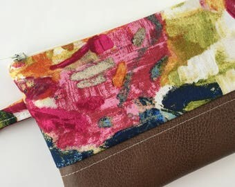 Floral Wallet - Wristlet Wallet - Smarthphone wristlet - Faux Leather Clutch - Leather Wristlet - iPhone Wallet - Phone Wristlet