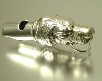 Antique/ estate / vintage Victorian style,novelty dog, sterling silver working whistle pendant - jewelry / jewellery