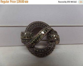 ON SALE JUDITH Jack Signed Sterling Silver Art Deco Marcasite Love Knot Brooch