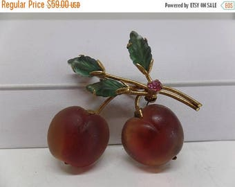 ON SALE Austria Signed Double Glass Cherry Brooch!