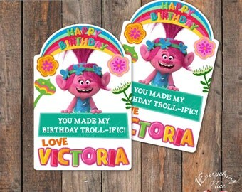 Trolls Poppy Birthday Thank You labels Favor Tags / Thank You Tags