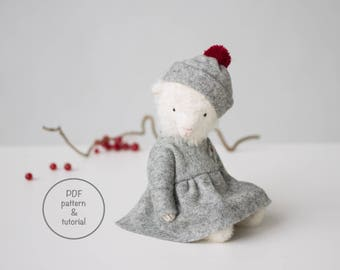 PDF Sewing Pattern & Tutorial White Mohair Teddy Bear Wool Dress Holly Embroidery 7 Inches Stuffed Animal Pattern For Women Christmas Gift