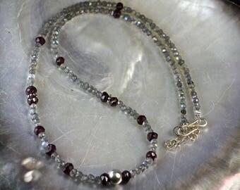 Silver and gemstones of labradorite and Garnet