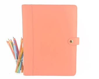 STUD- A4 Leather PadFolio / Portfolio Multiple Pockets, Snap Closure, Personalize. Available in different colors.