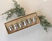 Individual Salt and Pepper Shakers, Vintage Boxed Set of Six, Personal Salt Pepper, Honeycomb Textured Aluminum, Seasoning Condiment Set