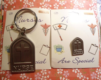 1 Set of Nurses Are Special Key Ring and Lapel Pin