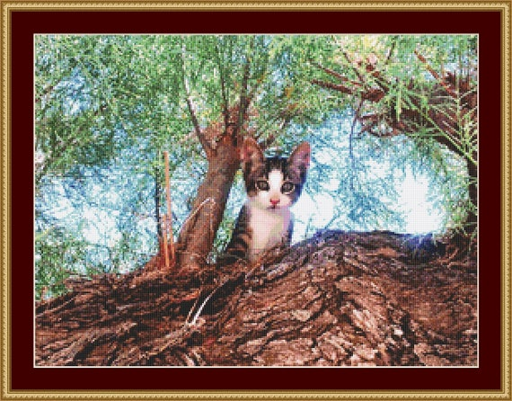 Cat Up A Tree Cross Stitch Pattern /Digital PDF Files /Instant downloadable