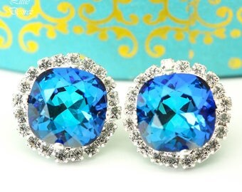 Swarovski Blue Stud Earrings Bridal Earrings Bridesmaid Earrings Blue Green Teal Earrings Bermuda Blue Earrings Handmade Gift for Her BB50S