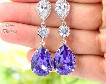 Purple Earrings Long Dangle Earrings Swarovski Crystal Tanzanite Lilac Mauve Crystal Earrings Bridesmaid Earrings Sterling Silver TZ31PC