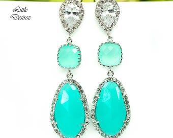 Mint Earrings Opal Earrings Pastel Green Earrings Teal Green Earrings Statement Earrings Cubic Zirconia Bridal Bridesmaid Earring MT40PC