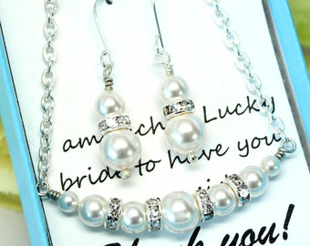 Pearl Necklace and Earrings Set Pearl Jewelry Set Bridesmaid Gift Swarovski Pearls Wedding Jewelry Bridal Jewelry Set White Pearls HELEN-JS
