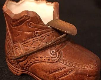 Vintage Ashtray Shoe Brown Ceramic Individual Ashtray