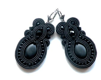 Earrings-Soutache Jewelry-Hand Embroidered Black Oval