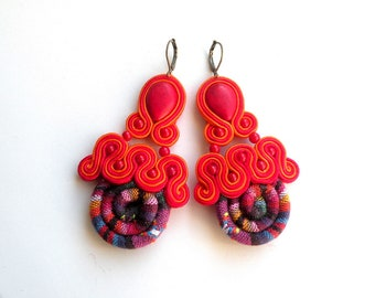 Earrings-Soutache Jewelry-Hand Embroidered-Masai Red-OOAK