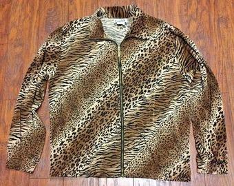 Vintage Retro Teddi Oversized Microfiber Bomber Track Animal Print Cheetah Leopard Windbreaker Jacket Womens Large