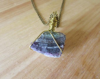 Wire Wrapped Purple and Green Fluorite Necklace