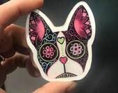 Sugar skull boston terrier/frenchie wood magnet