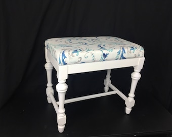 Vintage Mid Century Upholstered Vanity Piano Dressing Bench Stool Chair Seat - Beach House Blue White Ocean Furniture Bedroom