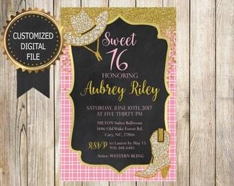 16 BIRTHDAY INVITATION - Bday Party Invitation - Customized Digital File - SWEET 16 - Quinceañera - Western Cowgirl - Pink Gold Chalkboard